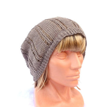 Knit linen hat, knitted summer beanie, natural linen slouche, knitting lace cloche, women men tam, gray hat, grey sun hat, accessories