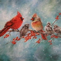 Cardinal Family Art Print, cardinal paintings, red birds, winter birds, snow birds, cardinals art, Vickie Wade art