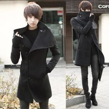 2017 autumn and winter slim trench  male personalized fashion turn-down collar wool coat The man's dust coat M-2XL