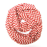 Red and Cream Chevron Infinity Scarf Womens Endless Loop Tube Scarf Chevron Printed Scarf Fun Holiday Scarf