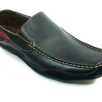 Mens Rocus Two Tone Slip On Moccasin Loafers Shoes CAS-901 Black