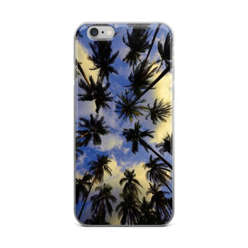 Palm Trees & Blue Sky Scenery Painting iPhone 4 4s 5 5s 5C 6 6s 6 Plus 6s Plus 7 & 7 Plus Case