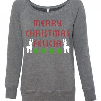 Merry Christmas Felicia Funny Ugly Christmas Sweater for women