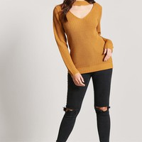 Mock Neck Cutout Sweater