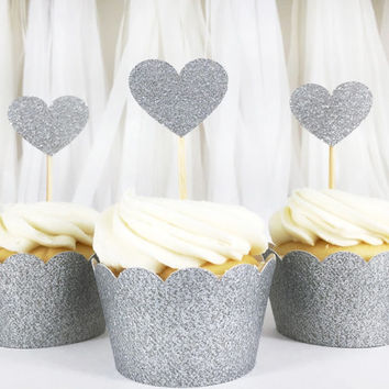 Silver Glitter Heart Cupcake Toppers - 12 Small - Party Supplies // Wedding Decorations // Birthday Party