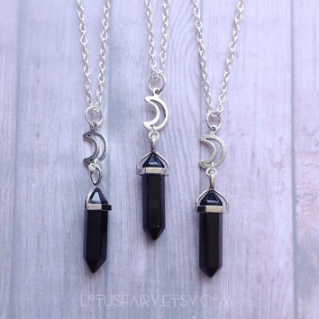 Black Obsidian Crystal Moon necklace, your choice of cord, chain or stretch cord