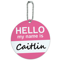 Caitlin Hello My Name Is Round ID Card Luggage Tag