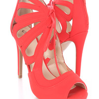 Red Lace Up Cut Out Single Sole Heels Nubuck