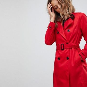 Stradivarius Classic Mac Trench at asos.com