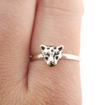 Adjustable Leopard Face Shaped Ring in Rose Gold