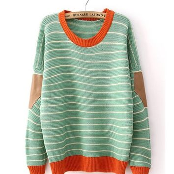 *Free Shipping* Green Contrast Yellow Neck Knitting Pullover Sweater TBHTK1206
