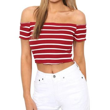 Women Summer Crop Top Sexy Off The Shoulder Short Sleeve Striped Blouse Short Tops Woman Clothes Shirt #BF