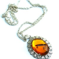 Vintage Topaz Glass Necklace Upcycled on Sterling Silver Chain