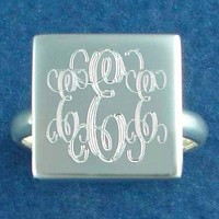 Monogrammed Sterling Silver Ring in Haley | Custom Preppy Jewelry