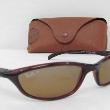 Ray Ban Polarized Mens Womens Wrap Sunglasses RB 4028 Cutters Brown 628/84 Rare