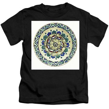 An Ottoman Iznik Style Floral Design Pottery Polychrome, By Adam Asar, No 18a - Kids T-Shirt