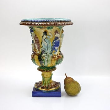 Large Classical Majolica Urn / Italian Home Decor