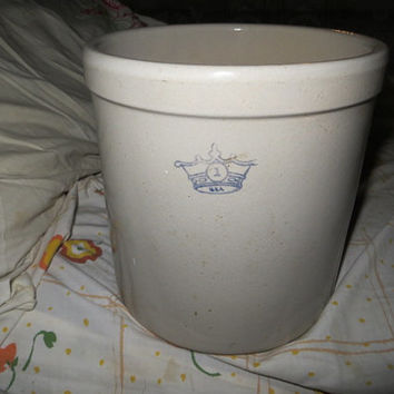 Antique Primitive Blue Crown Stoneware Crock No 1 gallon