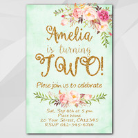 2nd Birthday Invitation, Turquoise Gold Invitation, Any age 13, 18, 21, 30th 40th 50th, etsy Birthday Party invitation XA302t