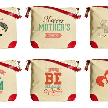 Women Mother's Day Beige Casual Printed Canvas Tote Bag Shoulder Bag WAS_33