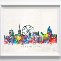 Nottingham Skyline Print, England Print, Nottingham Poster, UK Cityscape, Watercolor Painting, Wall Art, Dorm Decor, Christmas Gift