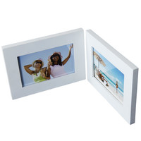 Furnistar Decorative White Wood Hinged Table Desk Top Picture Photo Frame PF0164