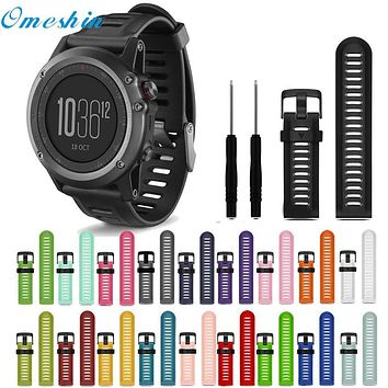 OMESHIN For Garmin Fenix 3 HR Soft Silicone Strap Replacement Watch Band With Tools June23