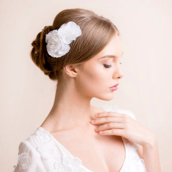 Bridal Flower Comb Peony - Bridal Hair Comb - Wedding Hair Comb Flower - Peony Flower Hair Accessory - Bridal Hair Accessory