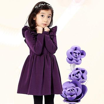 Winter Baby Dress Long Sleeve Velvet Ruffles Dresses For Princess Girl Clothing Party Dance Weeding Dress Of Teen Girls Clothes