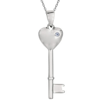 Sterling Silver Rhodium Plated Finish Puffy Heart Key Necklace With CZ - 18 Inch