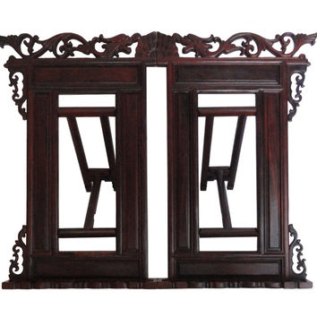 Chinese Red Wood Book Reading Holder Rack
