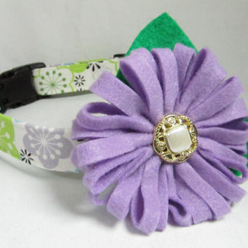 Designer Dog Collar and Flower  - Bright Green Funky Florals with lavender Flower - Spring dog collar, green dog collar, cute dog collar