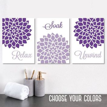 PURPLE BATHROOM WALL Art, Canvas or Prints, Purple Bathroom Decor, Relax Soak Unwind Quotes, Flower Bathroom Wall Decor, Set of 3 Artwork