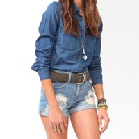 Double Pocket Denim Shirt | FOREVER 21 - 2030187958