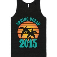 Spring Break 2015 (dark)-Unisex Tri-Black T-Shirt