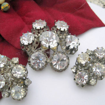 Vintage Made in Austria Faceted Rhinestone Brooch Set
