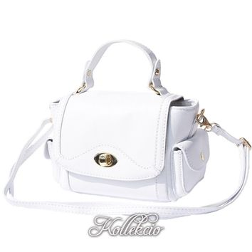 Small Italian Genuine Leather White Handbag with Shoulder Strap