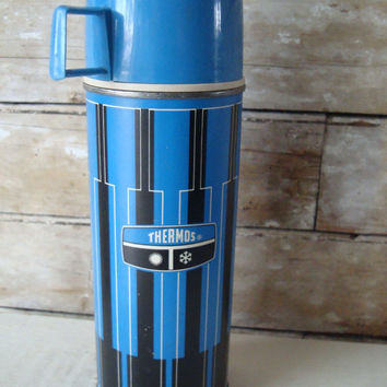 Vintage Thermos Blue an Black  Stripped  Made In the USA Norwich Conn 1971