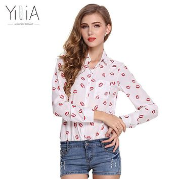 Yilia Lip Print White Chiffon Blouse Shirt Spring Summer 2017 Long Sleeve Women Turn Down Collar Elegant Casual Top Blusa Floral