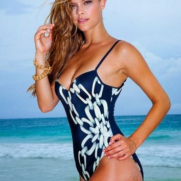 Sauvage Chain Print Underwire One Piece Swimsuit