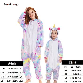 Kids Unicorn Pijama Adult Winter Pyjama Sleepwear For Women Boys Cartoon Homewear Onesuit Kigurumi Pajamas Set Baby Girls Clothes