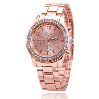 Hot Fashion Rose Goldm Full Steel Rhinestone Analog Quartz Geneva Women Dress Watches BW1432