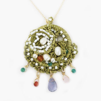 Gold Lace Pendant Necklace, Pearl Crystal Gemstone Medallion Necklace
