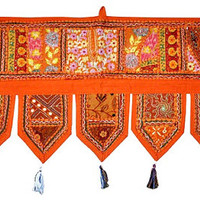 "38x14"" Decorative indian sari Door Valance, Vintage Door Hanging Window Ethnic Decor, Vintage indian door hanging, Embroidered Valance Toran"