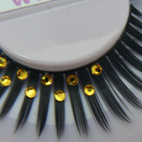 Golden Delicious - Ultra Sparkly Exclusive False Eyelashes with Golden Yellow Swarovski Crystal  Diamante