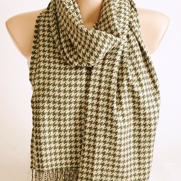 SALE-Houndstooth Scarf - Cream and Green -  Long Scarf - Wrap Scarf