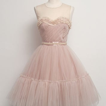 Homecoming Dress,Pink Sweetheart O-Neck Chiffon Short Prom Dress