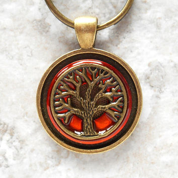 tree of life keychain: orange - mens keyring - celtic keychain - mens keychain - tree keychain - unique keychain - valentine gift - nature