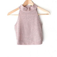 Mock Neck Ribbed Knit Crop Top - Dusty Pink
