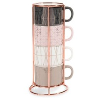 MODERN COPPER 6 faience coffee cups + holder | Maisons du Monde